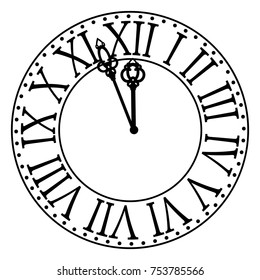 Vintage clock with roman numbers. New Year midnight