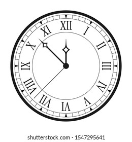 Vintage clock with Roman numerals isolated on white background. Black antique clock with arrows and Roman clock face. Vector