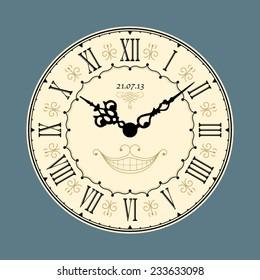 Vintage clock. Vector illustration.