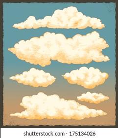 Vintage clouds. Retro sky vector background design set