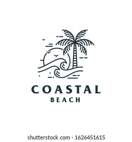Vintage Coastal Beach Logo Design