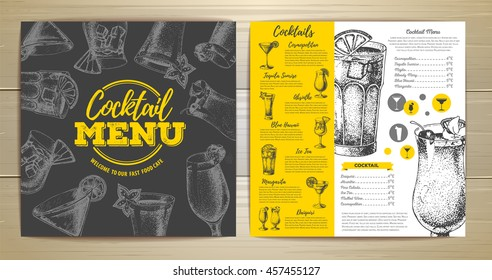 Vintage cocktail menu design