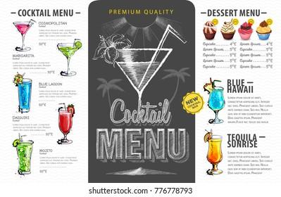 Vintage cocktail menu design. Beverages menu