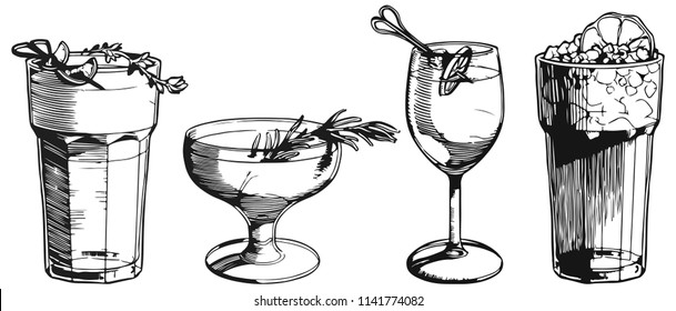 Vintage cocktails set. Vector illustration