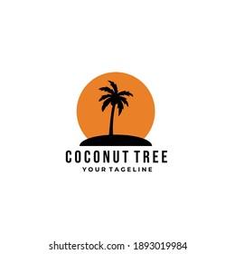 vintage coconut tree logo minimalist vector symbol illustration design