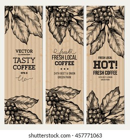 Vintage coffee banner collection design templates. Vector illustration