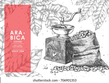 Vintage Coffee Bean in Sackcloth and Coffee Grinder with Red label by pen ink sketch drawing technique.Vector and illustration.