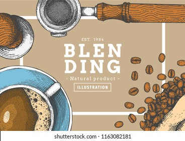 Vintage coffee illustration with color for poster , frame or another template.