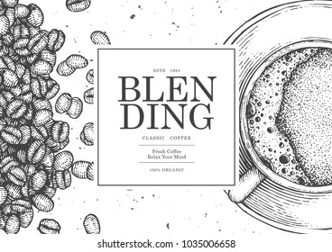 Vintage coffee illustration for poster , card or label of packaging design. Use by Pen & Ink Sketch Drawing Technique. Vector & illustration.