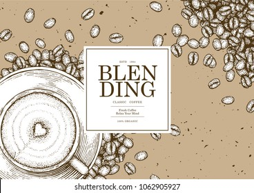 Vintage coffee illustration for poster , card or label of packaging design. Pen and Ink Sketch Drawing Technique. Vector and illustration.
