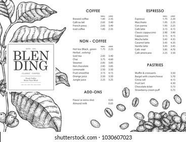 Vintage coffee illustration for poster or menu template.Use by Pen & Ink Sketch Drawing Technique.Vector & illustration.
