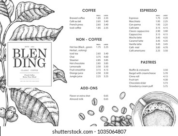 Vintage coffee illustration for poster or menu template. Use by Pen & Ink Sketch Drawing Technique. Vector & illustration.