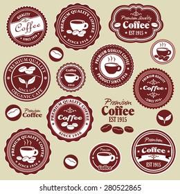 Vintage coffee label design set