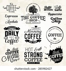 Vintage Coffee Labels, Badges and Typographic Elements