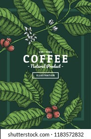 Vintage coffee leaf illustration with color for poster or another template design.