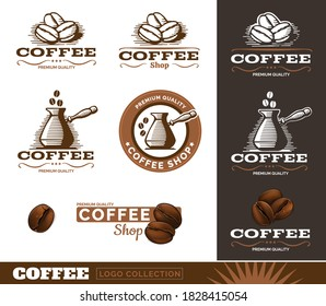 Vintage coffee logos. Vector Illustration.