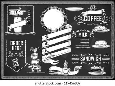 Vintage Coffee point Restaurant chalk Blackboard menu. Chalk Board food Menu. Retro Breakfast sandwich cake Blackboard. Typography graphic Old Pub Bar shop Background Vector hand draw illustration