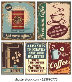 Vintage coffee posters and retro cafe metal signs. Set of vector graphic designs with coffee beans and coffee cup.