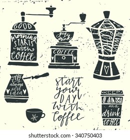 Vintage coffee set.  Hand drawn typography elements.  Moody sky abstract background.