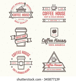 Vintage coffee shop labels, banner, ribbon, logo and badges vector set