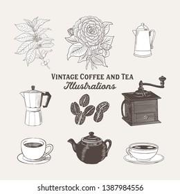 Vintage Coffee and Tea Illustrations - Vintage, antique style illustrations of coffee and tea