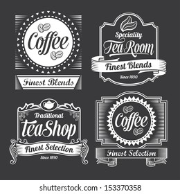 Vintage Coffee and tea labels. Vector designs on a black background