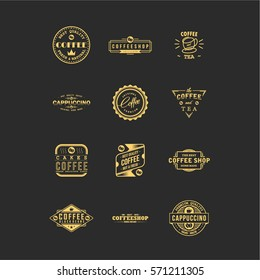 Vintage Coffee and Tea Typography Logo Badges Collection Vector
