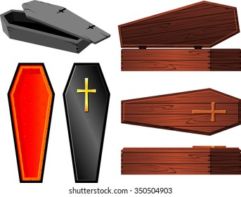 Vintage Coffin Set-Halloween elements coffin