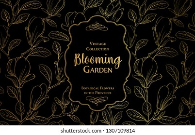 The vintage collection. Awesome postcard background template for wedding invitation. Label with magnolia flowers. Vector illustration.