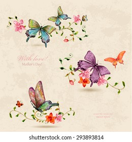 vintage a collection of butterflies on flowers. watercolor painting