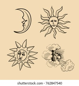 A vintage collection of celestial bodies and elements. The sun, the moon and the wind.  Vector isolated illustration.