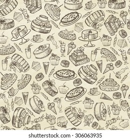 Vintage collection of desserts. Sketches of desserts hand-drawn. Seamless patten.Vector illustration.