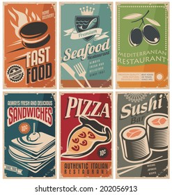 Vintage collection of food and restaurants posters.