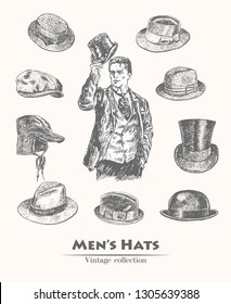Vintage collection of vintage Hats sketch. Gentleman takes off his top hat. Fedora, Homburg, Bowler, cowboy, Porkpie, Boater, Campaign , Stingy Brim. Hand drawn