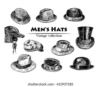 Vintage collection of vintage inking Hats sketch. Fedora, Homburg, Bowler, cowboy, Porkpie, Boater, Campaign, Stingy Brim.