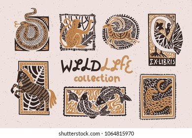 Vintage collection of stylized animals in the technique of linocut. Can be used as a print on clothes, postal stamp, postcard