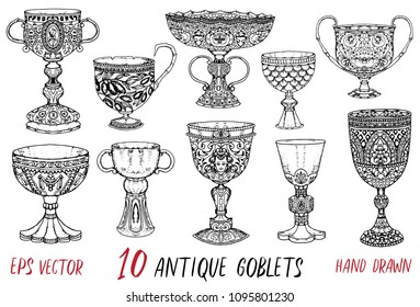 Vintage collection with ten antique goblets. Hand drawn doodle engraved illustration with graphic drawings