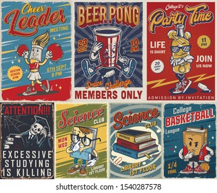 Vintage college posters set with books and cute characters of cheerleader brush drunk paper cup skeleton in mantle and graduation cap meditative book funny notepad stylish bottle vector illustration