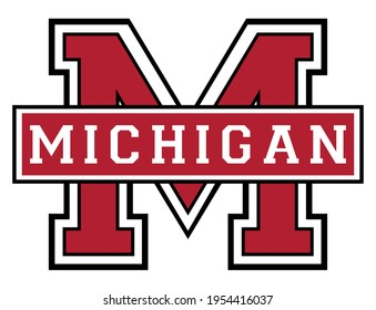 Vintage college varsity font typography michigan text vector print for man woman tee - t shirt and sweatshirt