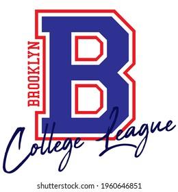 Vintage college varsity font typography Brooklyn slogan vector print for man woman tee - t shirt and sweatshirt