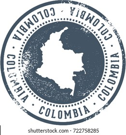 Vintage Colombia South America Country Travel Stamp