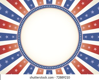 Vintage color American theme with star bordered circle copy space in center