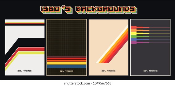 Vintage Color Backgrounds from the 1980's. Covers, Patterns Templates