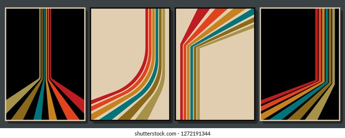 Vintage Color Backgrounds Set from the 70s\n