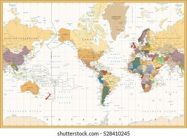 Vintage Color Map America Centered Political World Map. Highly detailed vector illustration of World Map.