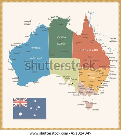 Map Of Australia Labeled.Vintage Color Political Map Australia All Stock Vector Royalty Free