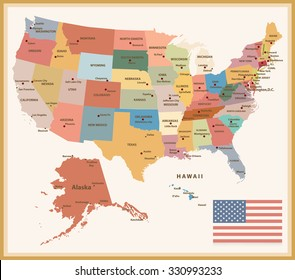 Vintage Color Political map of the USA with flag.