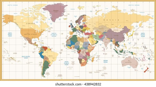 Vintage color political World Map.All elements are separated in editable layers clearly labeled.