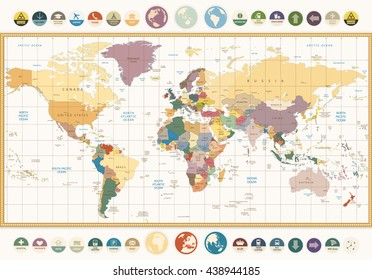 World map country names images stock photos vectors shutterstock vintage color political world map with round flat icons and globesl elements are separated gumiabroncs Choice Image