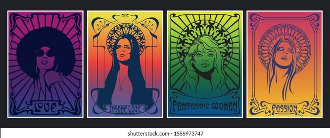 Vintage Color Poster Set Hippie Girls, 1960s, 1970s Psychedelic Art Style, Art Nouveau Frames and Elements